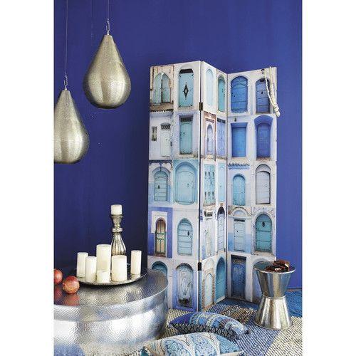 Paravent imprimé en bois bleues L 120 cm GABES,    www