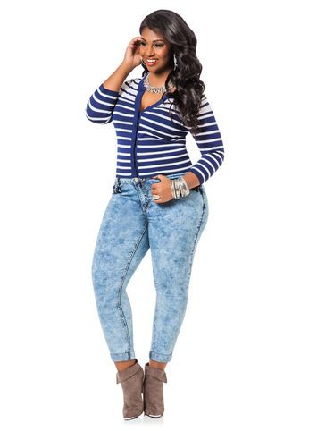 ca14ffb3ac9 Plus Size Jeans and Bottoms. Pinch Pocket Acid Wash Jeans
