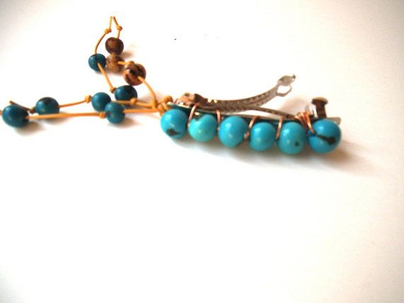 Teal Blue Acai Seed Bead Hair Clip with by TerriJeansAdornments,