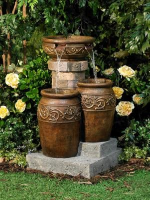 If I Could Have A Water Feature Without Having To Worry About Mosquitos Breeding I Would Make A Beauti Garden Water Fountains Patio Fountain Fountains Outdoor