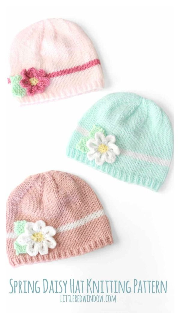 Spring Daisy Baby Hat Free Knitting Pattern | Baby hats, Knitting ...