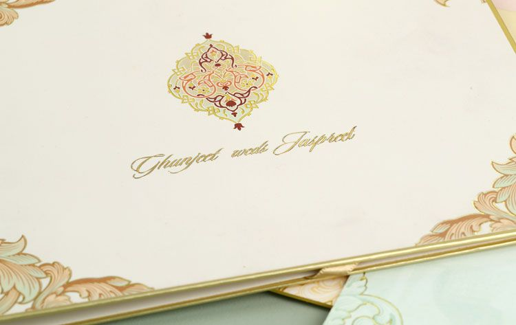Ghunjeet Jaspreet Gold Leaf Design Studio Wedding Card Design Indian Wedding Card Design Indian Wedding Cards