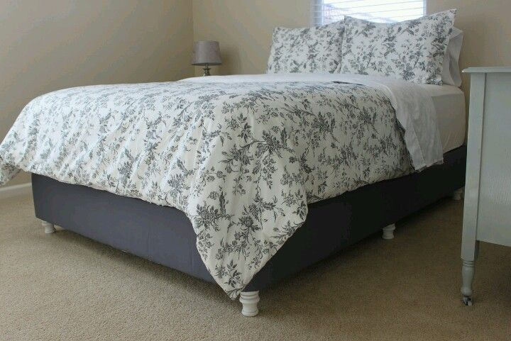 diy upholstered box spring with screw in furniture legs cheap alternative to a bed frame. Black Bedroom Furniture Sets. Home Design Ideas