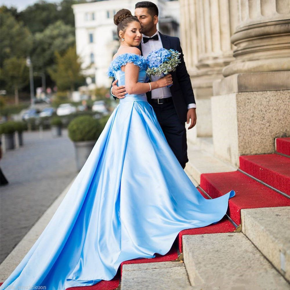 White and blue wedding dress   Sky Blue Wedding Dress Ruffles Satin Aline Bridal Ball Gowns