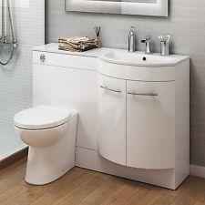 1200mm Right Hand Modern Bathroom Gloss White Basin Toilet