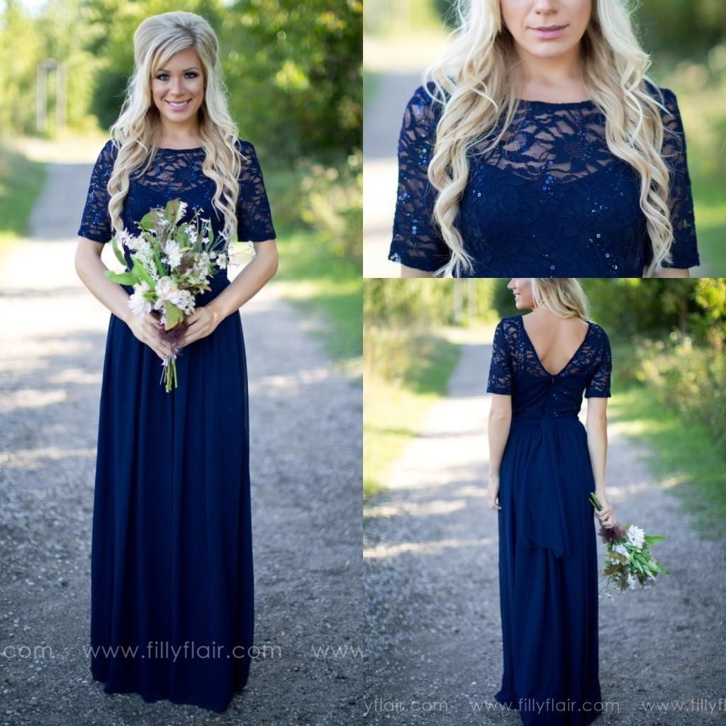2017 country style navy blue bridesmaid dresses sheer crew for Navy blue dresses for wedding