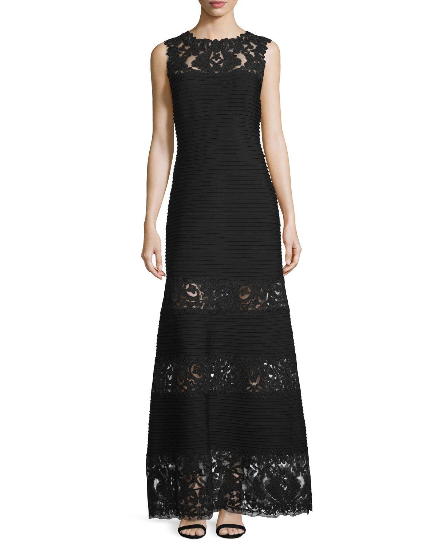 Sleeveless Pintucked Lace-Panel A-line Gown, Black - Tadashi Shoji ...