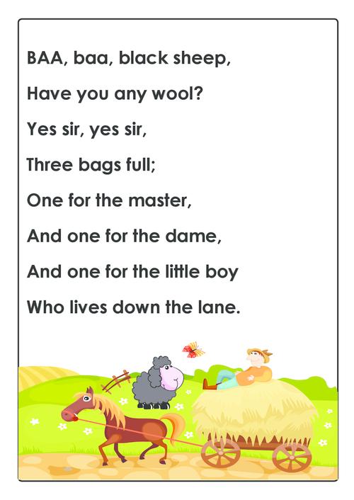 Baa Baa Black Sheep Nursery Rhyme Kidspressmagazine Com Sheep Nursery Nursery Rhymes Nursery Songs