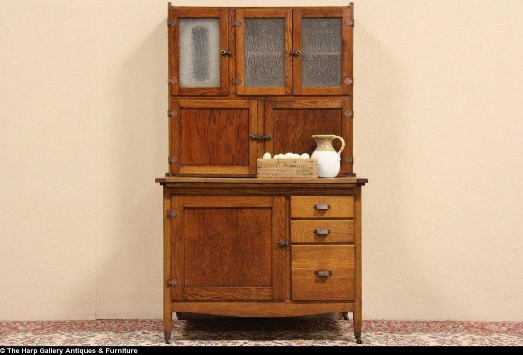 Oak Antique 1915 Hoosier Kitchen Cabinet Original Ice