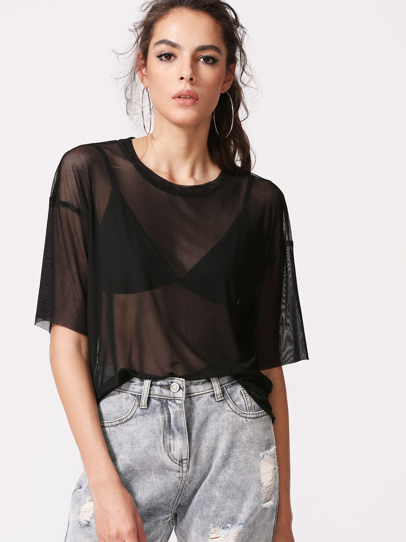 5ee57bca3a1 Shop Black Drop Shoulder Sheer Mesh Top online. SheIn offers Black Drop  Shoulder Sheer Mesh Top   more to fit your fashionable needs.
