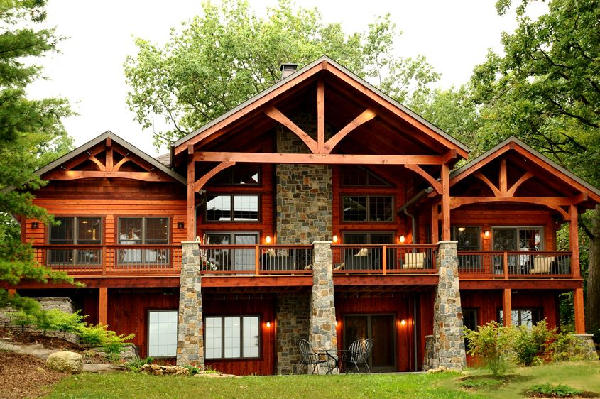 Timber Frame Style Home Mountain Home Exterior House Exterior