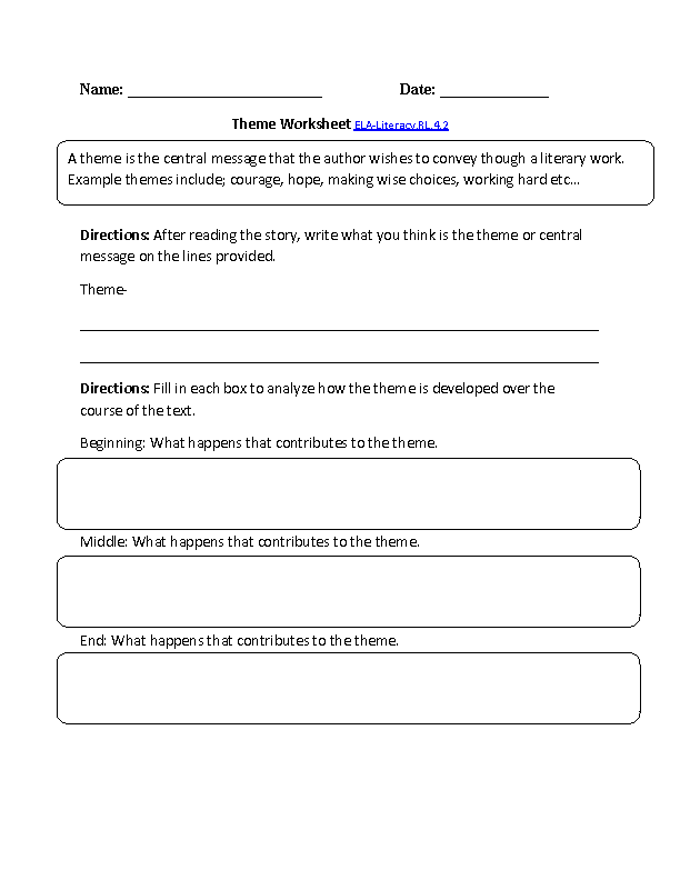 Theme Worksheet ELA-Literacy.RL.4.2 Reading Literature Worksheet ...