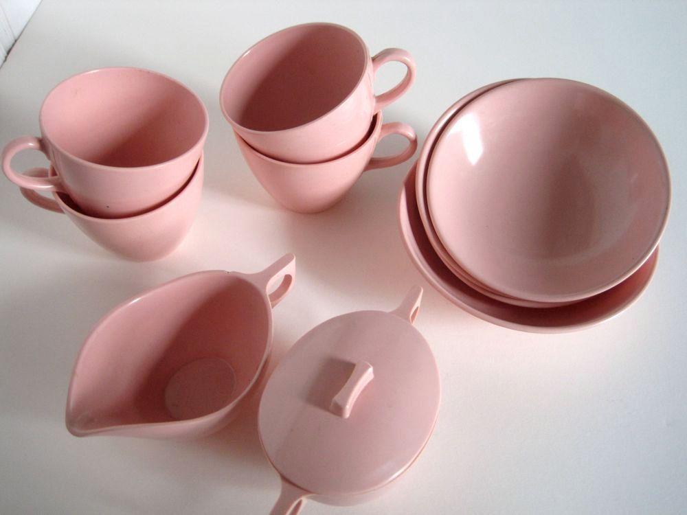 Pink Retro Melmac Dishes - Rosy Pink Trailer Park Bowls - Melamine Dinnerware Travel Trailer Decor & Pink Retro Melmac Dishes - Rosy Pink Trailer Park Bowls - Melamine ...