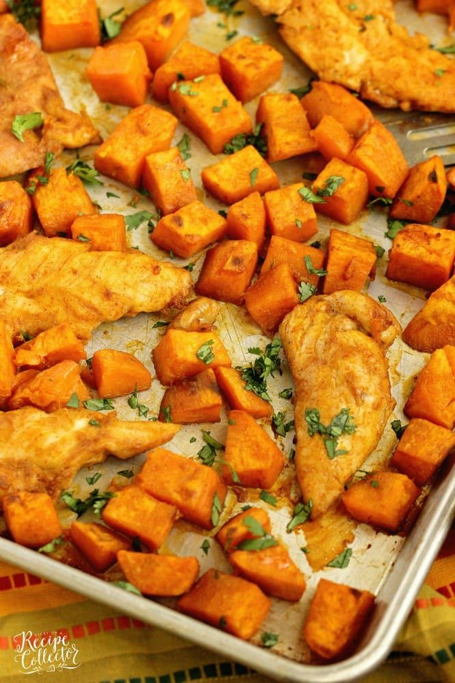 Sheet Pan Sweet and Spicy Chicken and Sweet Potatoes