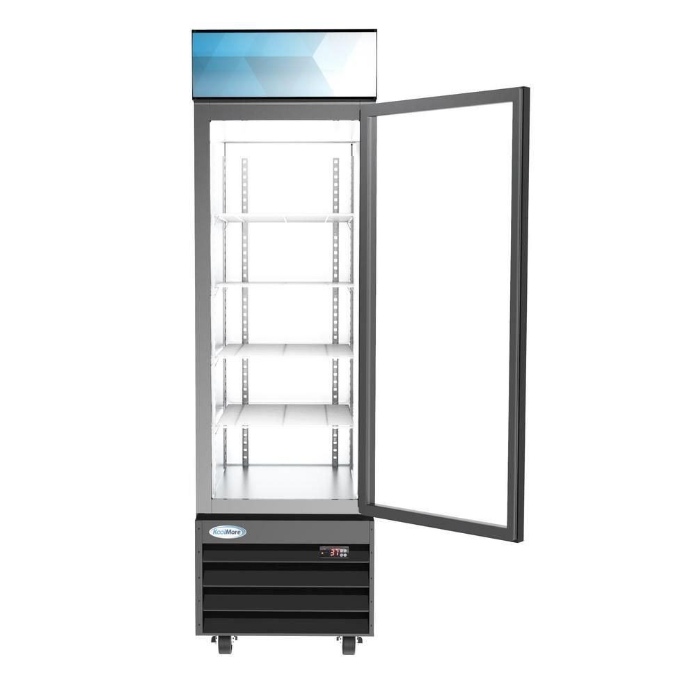 Koolmore 23 In W 13 Cu Ft Commercial Upright Display Refrigerator Glass Door Beverage Cooler With Led Lighting In Black M23 1g The Home Depot In 2020 Display Refrigerator Glass Door Beverage Cooler