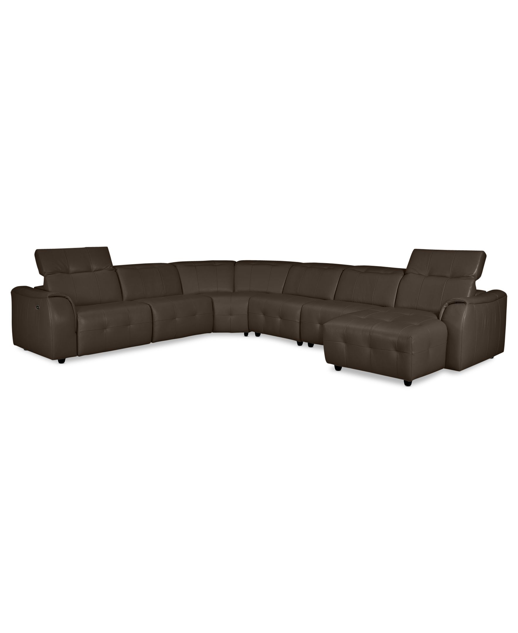 Novara Leather 6 Piece Power Reclining Sectional Sofa Power