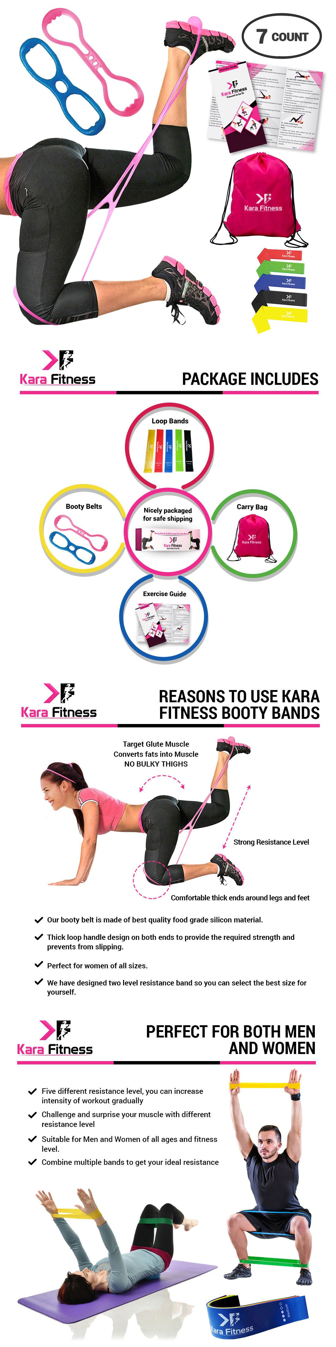 b7b899a21dea Fitness Equipment and Gear 28064  Kara Fitness Booty Belt Resistance Loop Exercise  Bands Work Out Guide Gym Bag -  BUY IT NOW ONLY   23 on eBay!