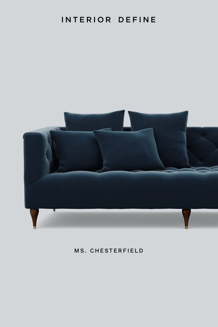 Ms. Chesterfield is our lighter, softer take on the classic Chesterfield sofa. We took the old-fashioned men's club design and gave it a more modern feel. Customize it with your favorite fabric and legs at interiordefine.com.