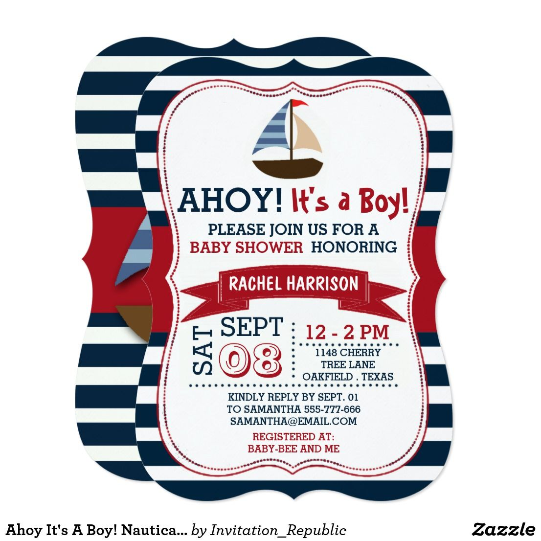 Ahoy It\'s A Boy! Nautical Boat Baby Shower Invites