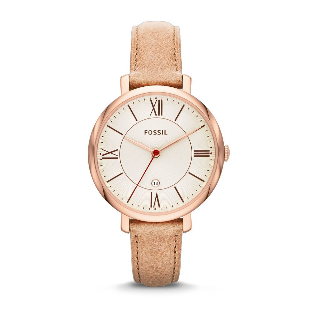 Fossil Ladies Jacqueline Sand Leather Strap Watch Cream Dial - Most Popular