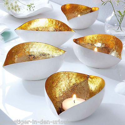 Edle design Teelichthalter Dekoration aus Eisen weiß mit gold Kerzenhalter