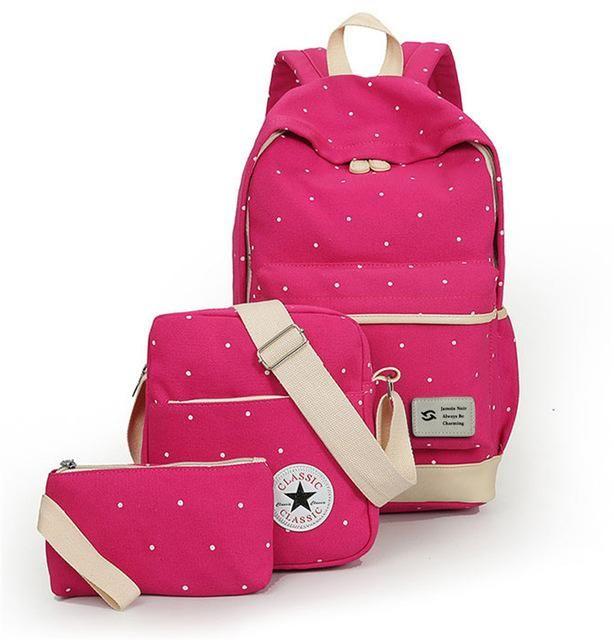 35b598db00 fresh Canvas Women Backpack big girl student book bag with purse laptop 3pcs  set bag high