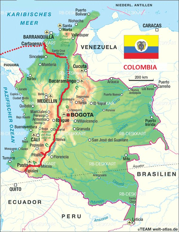 Detailed road map of Colombia with airports. Free download ...