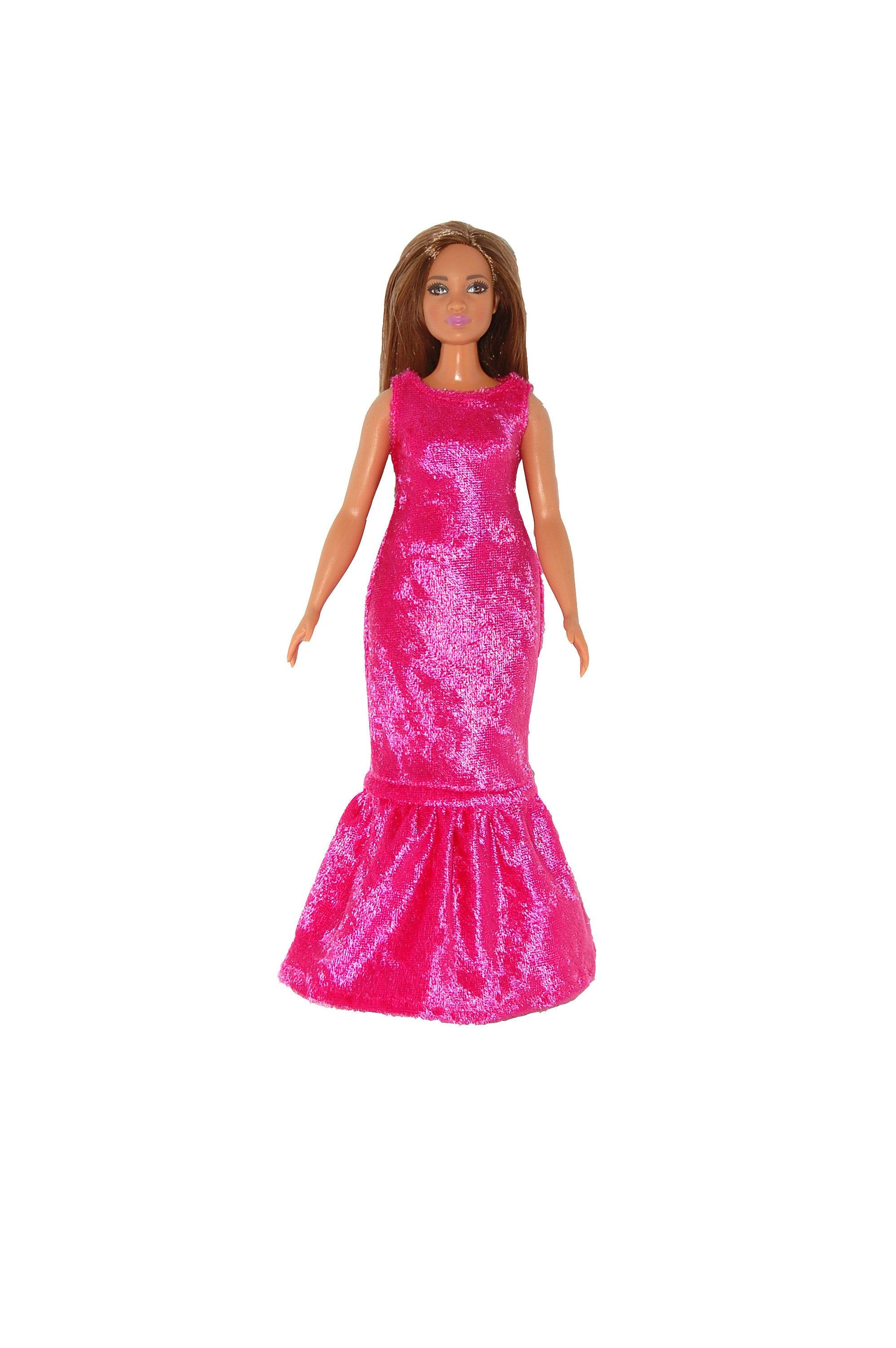 Long formal dress for Curvy Barbie Fashionista Doll Clothes TKCT Red Glitter