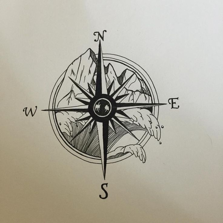 unique Tattoo Trends - tattoo compass with mountains and ocean