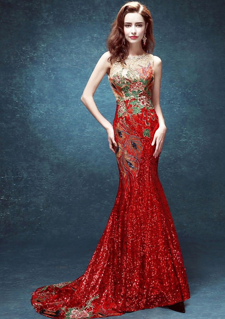 Elegant mermaid chinese wedding dress evening gown full of lace