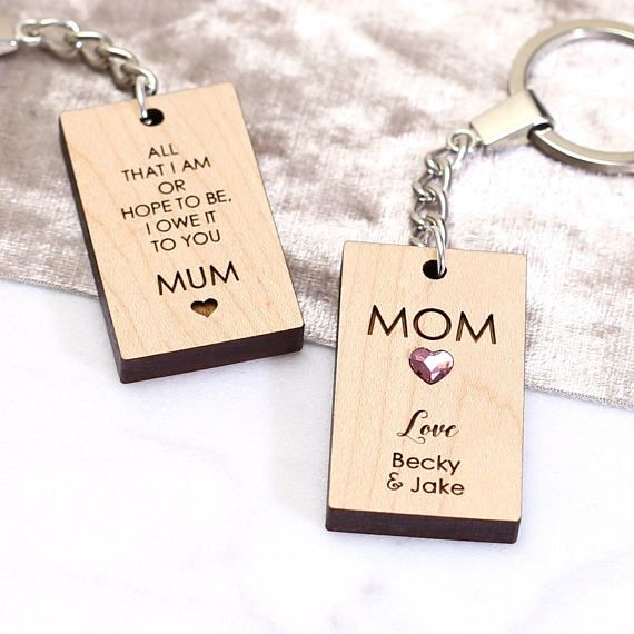 Personalised Wooden Key Ring Gift For Mum Birthday Unique Her Nan Mom Valentines This Stylish
