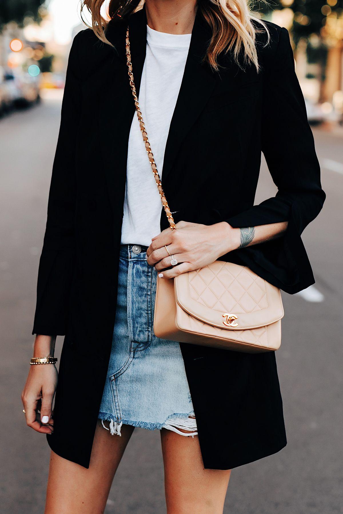 Fashion Jackson Wearing Anine Bing Black Blazer White Tshirt Levis Denim Skirt Chanel Beige Handbag 2