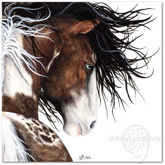 Majestic horse pintaloosa paint pinto fine art prints canvas prints by bihrle mm140 square