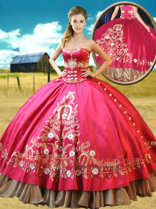 Really Puffy Taffetae Red 15th Birthday Gown with Appliques and ...