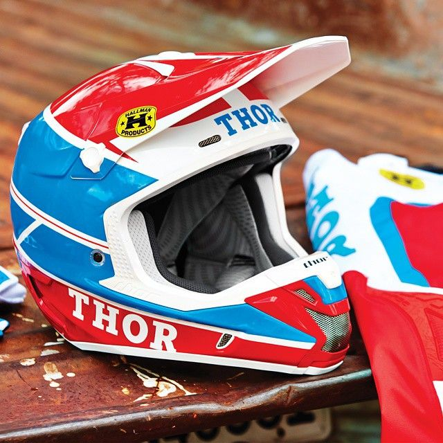 ef764101 Red, white and blue never goes out of fashion for us. Check out our Pro GP Verge  helmet and kit at thormx.com #thormx #heritage #redwhiteandblue #moto