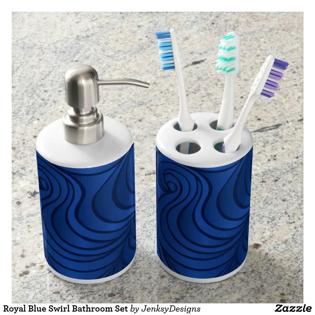 Royal Blue Swirl Bathroom Set Zazzle Com Bath Accessories Set Soap Dispenser Brushing Teeth