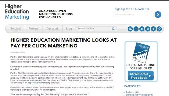 Higher Education Marketing Looks at Pay Per Click Marketing Higher