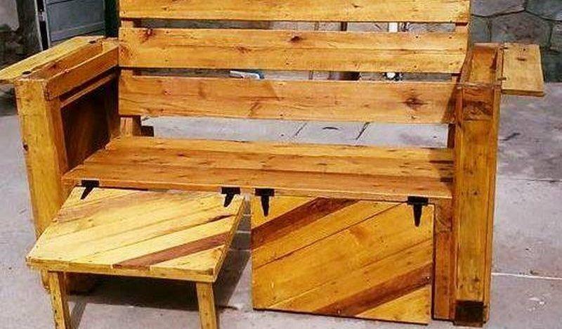 Schritte, um eine umwandelbare Palette Holzbank zu machen