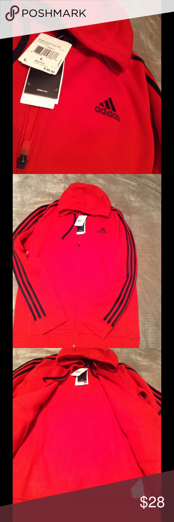 Men's new zippered fleece hoodie Red with black stripes down the arms Adidas Shirts Sweatshirts & Hoodies
