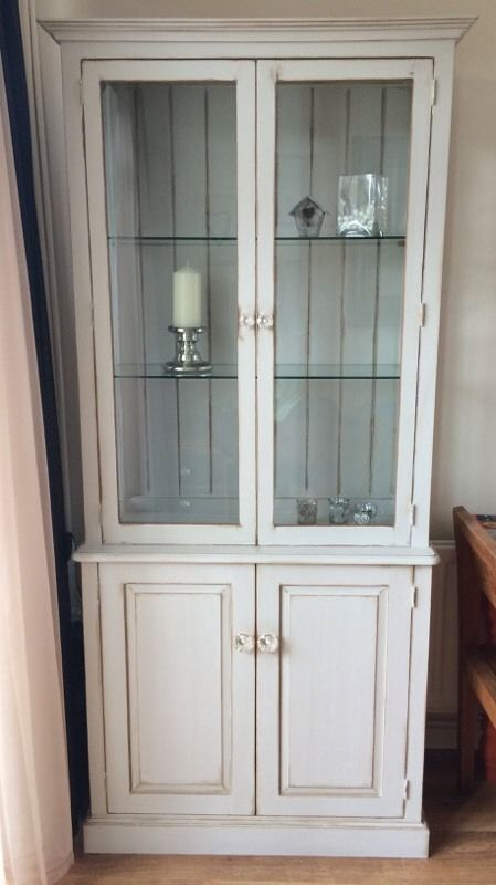 Shabby Chic Glass Display Cabinet With 2 Door Cupboard Stunning