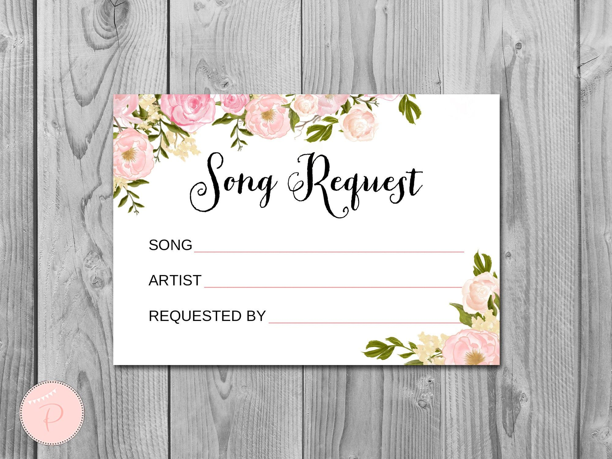 Peonies Wedding Song Request Card, Wedding RSVP with Song