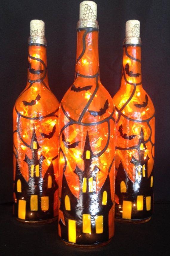 Haunted House Halloween Wine Bottle Of Lights Hand