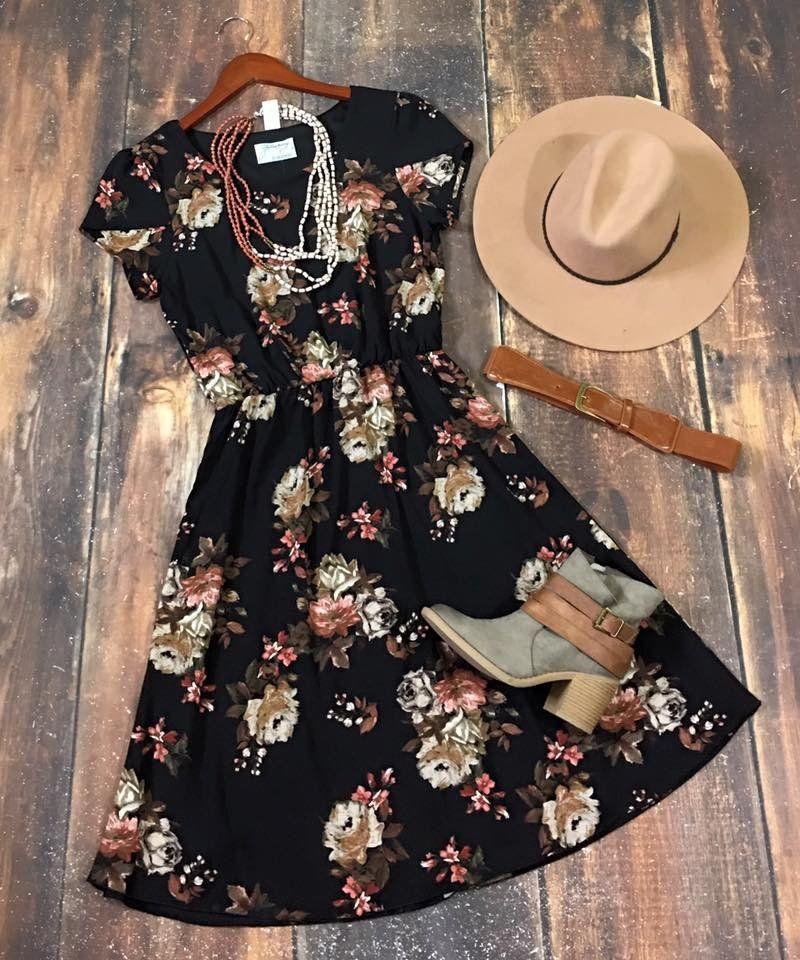 Black Floral Print Cinch Waist Woven Dress