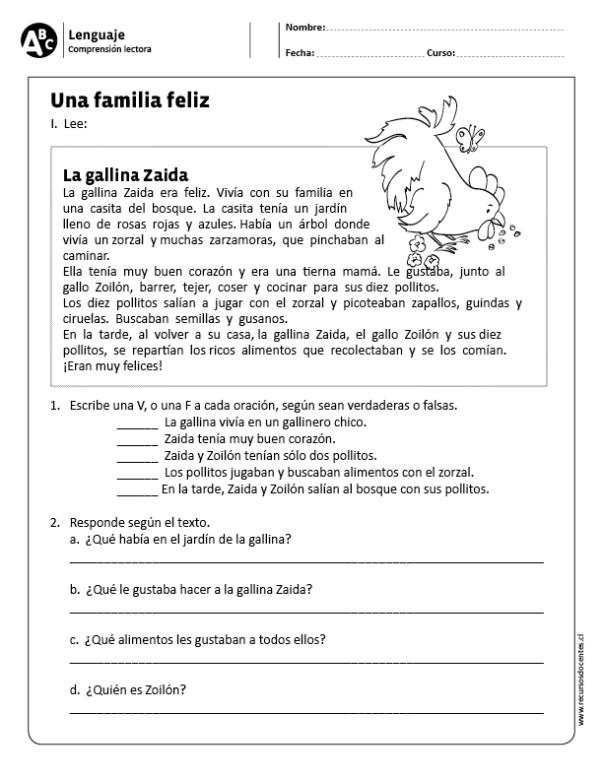 Una familia feliz | Terapia del Habla-Lenguaje | Comprensión lectora ...