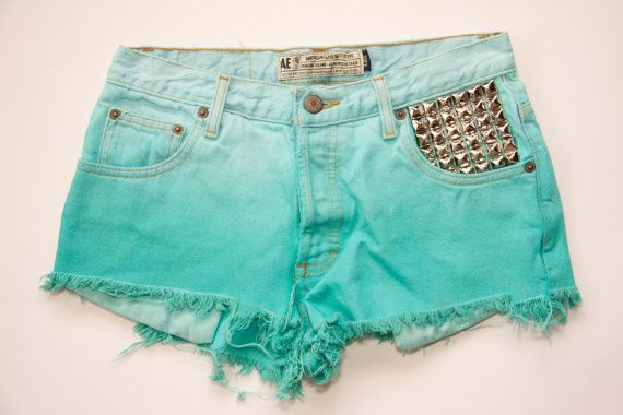 Ombre Dip Dyed Studded Denim Shorts by VagrantVintageCo on Etsy, $40.00