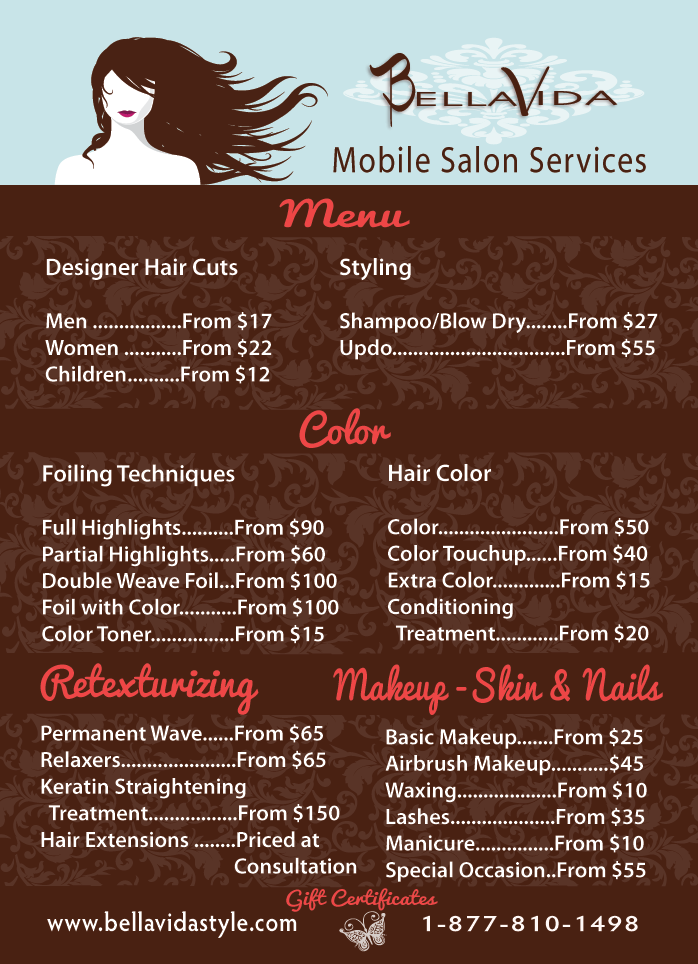 hair style menu menu vida style mobile salon birthdays 7271