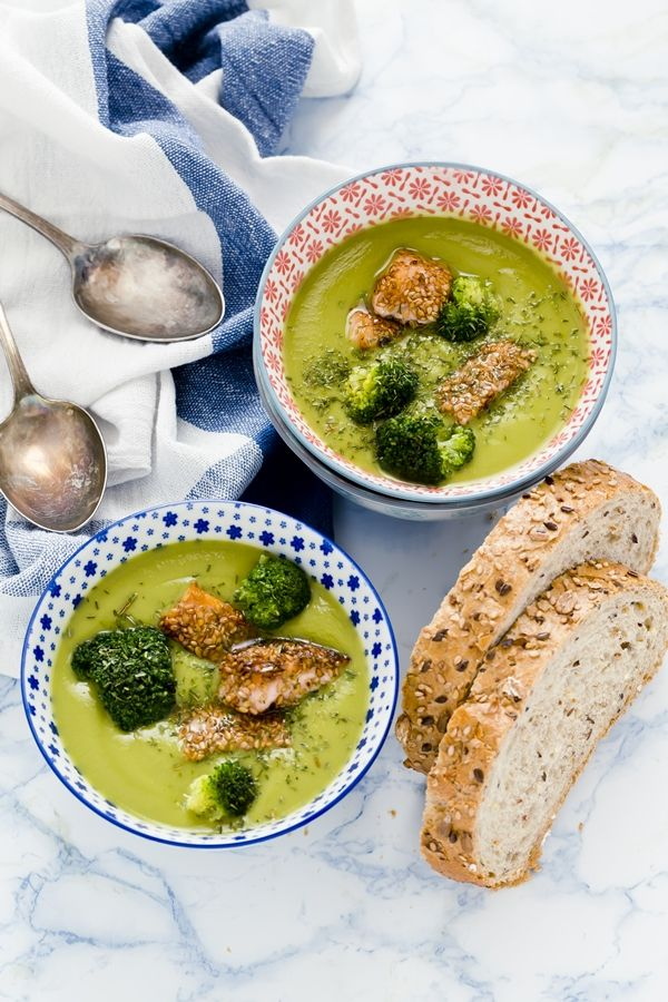 Pea Soup with Broccoli and Salmon.... bake or grill the salmon instead of frying, for MS health.