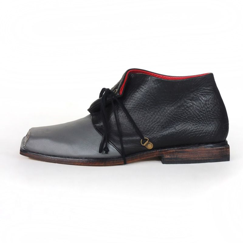 SASHA - androgynous leather & wood with brass hardware details - A desert  boot with a