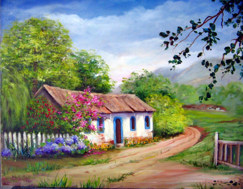 Paisagens para pintar em tela pesquisa google casas - Paisajes de casas ...