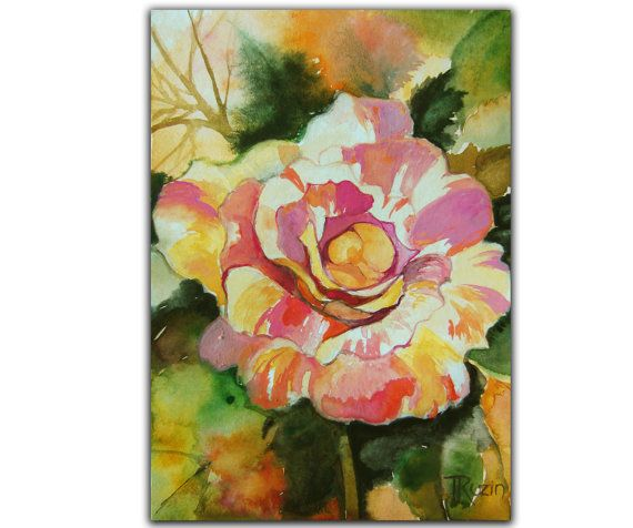 Claude Monet Rose Painting Original Art Original by MixmatchGIFTS